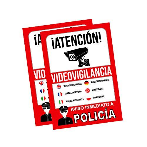 Pegatina alarma securitas - Cartel zona videovigilada adhesivo - Pegatinas de Videovigilancia - Aviso a la Policía Rojo - multilingüe (14,8 x 10,5 cm) (2 Piezas pegatinas videovigilancia)