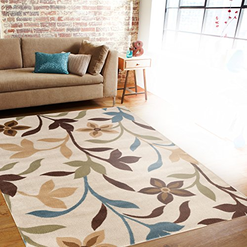 Rugshop Modern Contemporary Leaves Design Area Rug, 3'3″ x 5'3″, Cream