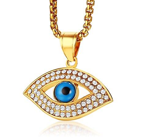 VNOX Collar de acero inoxidable chapado en oro con colgante de amuleto de mal de ojo protector para hombres y mujeres