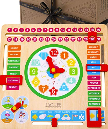 Jaques of London Holzspielzeug Mein erster Kalender für Kinder mit Lernuhr - Kinderuhr mit Kinderkalender - Premium Montessori Spielzeug für 2 3 4 5-Jährige seit 1795…