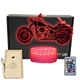 Motorbike 3D Illusion LED Table Lamp Motorcycle Bedroom Decorations Night Light with Greeting Card 16 Colors Remote Decor Gifts for Fathers,Dad,Mothers,Men,Women,Kids,Boys,Teens,Girls