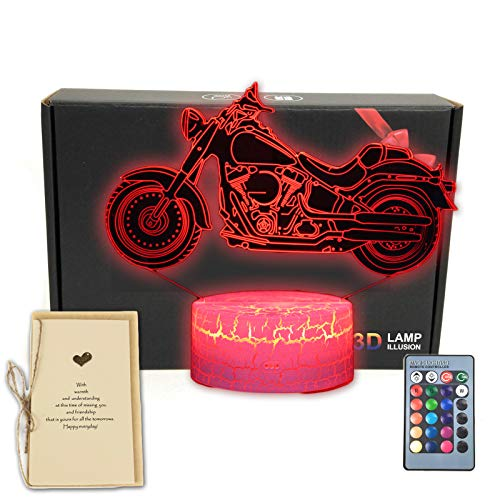 DEAL BEST Motorbike 3D Illusion LED Table Lamp Motorcycle Bedroom Decorations Night Light with Greeting Card 16 Colors Remote Decor Gifts for Fathers,Dad,Mothers,Men,Women,Kids,Boys,Teens,Girls