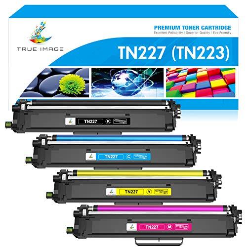 TRUE IMAGE Compatible Toner Cartridge Replacement for Brother TN227 TN-227 TN227BK TN223 TN-223BK MFC-L3750CDW HL-L3210CW HL-L3290CDW HL-L3270CDW HL-L3230CDW MFC-L3710CW MFC-L3770CDW Printer (4-Pack)