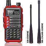 BaoFeng UV-9S Tri-Band 5W VHF,1.25M,UHF 136-174/220-225/400-520Mhz Extra 220 Antenna Portable Amateur Ham Two Way Radio (Red)