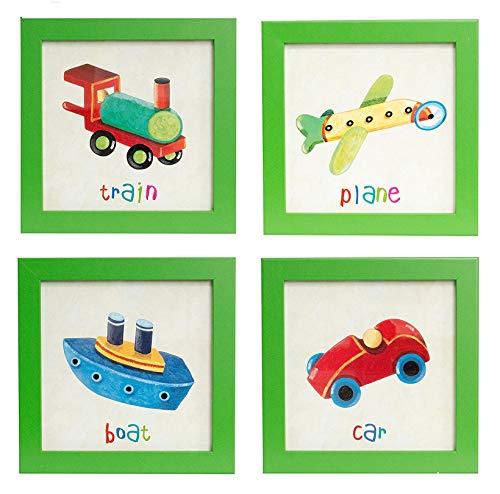 BD ART Ensemble de 4 différentes Images dans un Cadre pour une Chambre d'enfant, AVION+ TRAIN+VOITURE+ BATEAU