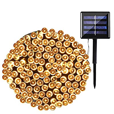 Solar Christmas Lights ,78.8FT 200 LED Solar String Lights Outdoor Waterproof, 8 Lighting Modes Christmas Fairy Lights for Indoor/Outdoor Garden, Patio, Yard,Wedding Party Decor (Warm White)