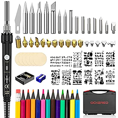 Wood Burning Kit, Wood Burning Tool with Adjustable Temperature Wood Burning Pen and Accessories, DIY Wood Burning Set for Embossing, Carving and Soldering, Popular Gifts for Adults and Kids