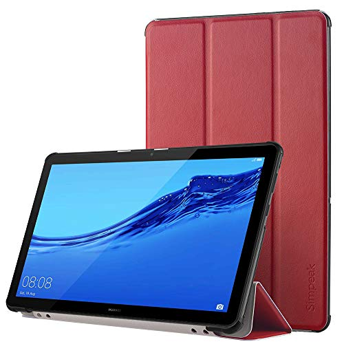 Simpeak Hülle Kompatibel für Huawei Mediapad T5 10.1 Zoll, Ultra Dünn mit Standfunktion Kompatibel mit Mediapad T5 10.1 Schutzhülle Hülle - Rot