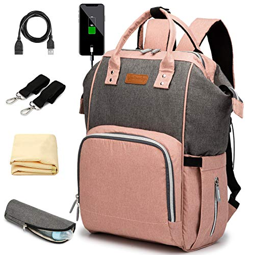 Diaper Bag Backpack for Baby with Insulated Pockets Stroller Straps Changing Pad and USB Charging Port, Large Capacity, Waterproof, Pink&Gray