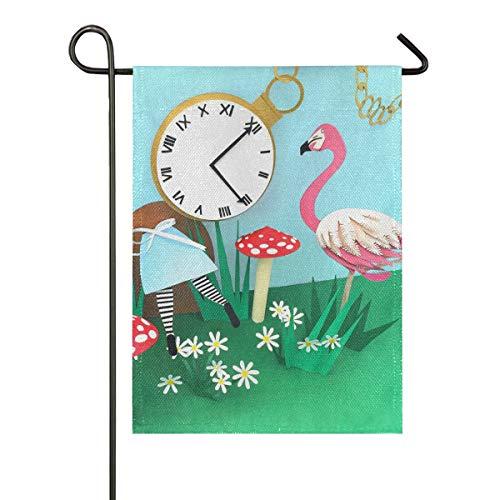 XiangHeFu Flamingo Time 28x40 Pouce Jardin Drapeau Triage Cadeau en Plein Air Bannière Accueil Double Face