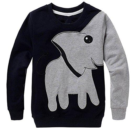 CM-Kid Little Boys' Elephant Long Sleeve T-shirt Cartoon Head Sweatshirt, Black, 5T