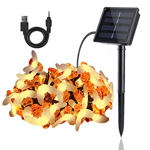 50LED Solar String Lights Outdoor, USB Charging Outdoor String Lights Solar Powered, Solar Fairy Lights Outdoor Waterproof, Solar Powered String Lights Firefly Lights 8 Modes for Garden & Lawn