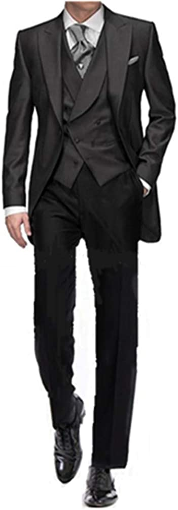 HSLS Men's Black Groom Tuxedos 3 Pieces Tailcoat Wedding Suits with Double-Breasted Vest