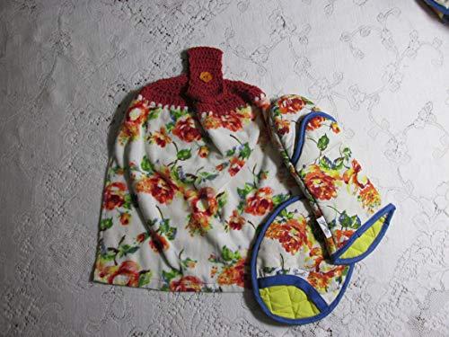 3 Pc Fiesta Floral Crochet Top Towel & Oven Mitt & Pot Holder Gift Set - Double Layer Hanging Kitchen Towel with Dark Rust Cotton Crochet Top - Best Quality