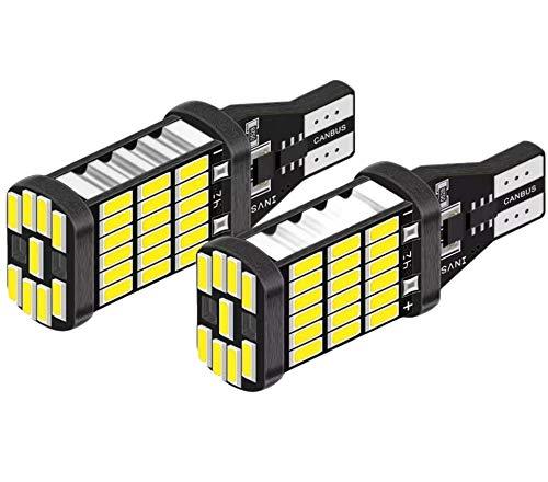 Pack de 2 Bombillas LED T15 W16W para Luces Traseras de Coche - Lampara de Estacionamiento Marcha Atras - Alta Potencia 12V 6500K Color blanco