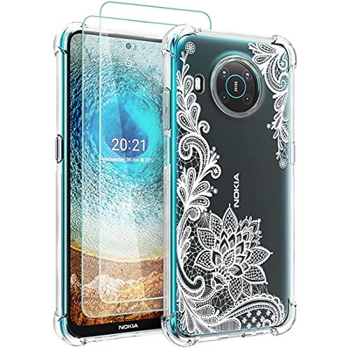 Osophter - Funda para Nokia X10 (2 unidades, protector de pantalla, diseño floral para niñas y mujeres, absorción de golpes, flexible de goma TPU para Nokia X10/X20, color blanco
