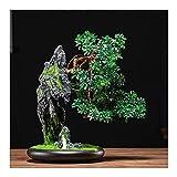Árbol Bonsai Artificial Plantas de árboles de bonsái artificiales con macetas de cerámica Rocas realistas Hecho por el hombre y esculturas de cerámica Decoración de escritorio Planta artificial Fake T