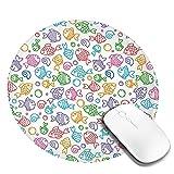 Alfombrilla de ratón con borde cosido, coloridas figuras de peces estilo Doodle con caras felices y burbujas bajo el mar Acuario, base de goma antideslizante duradera, grosor mejorado, resistente al a