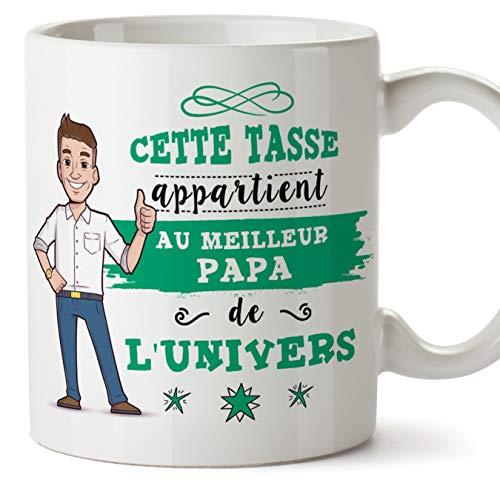 Mugffins Papa Tasse/Mug - Cette Tasse Appartient au Papa de l'univers - Tasse Originale/Idee Fête des Pères/Cadeau Anniversaire/Future Papa. Cérami