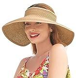 Summer Hats for Women Wide Brim Roll Up Straw Beach Sun Visor Hats, A-Natural