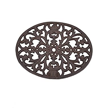 Creative Co-op DA2594  Round Cast Iron Trivet, Black