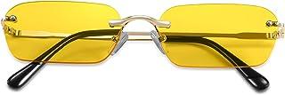 نظارات شمسية من FEISEDY Retro صغيرة ضيقة بدون إطار نظارات شفافة عتيقة مستطيلة نظارات شمسية للرجال B2643
