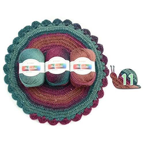 siwetg Ovillo de lana suave para tejer bufandas y suéteres de colores arcoíris