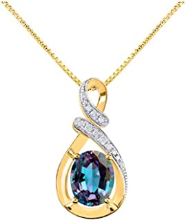 RYLOS Classic Designer Pendant with Oval Gemstone & Genuine Diamonds in Sterling Silver .925 or 14K Yellow Gold Plated Sil...