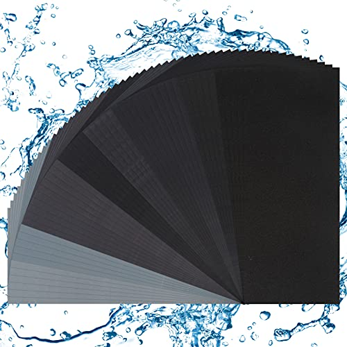 50 piezas de papel de lija papel de lija seco y húmedo hojas de papel de lija abrasivo seco húmedo impermeable papel de lija surtido de 320 a 3000