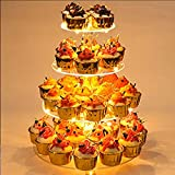 YestBuy 4 Tier Round Cupcake Stand, Cupcake Holder, 4 Tier Cupcake Tray, Acrylic Cake Tower Stand Display for Pastry + LED Light String, Ideal for Weddings, Birthday Parties (Yellow)