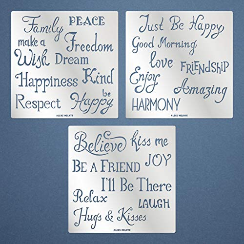 Aleks Melnyk #174 Quote Stencils Small/Metal Stencils: Quotes, Inspirational Words, Phrases, Sayings/Templates for Wall Art, Painting, Wood Burning, Crafts, DIY, Engraving, Home Decor Kit 3 PCS
