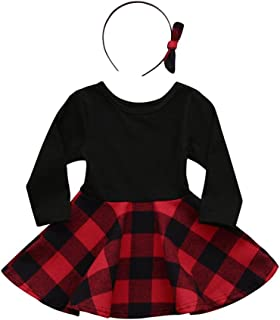 Kehen 2pcs Spring Outfits Long Sleeve Plaid Mini Dress Tops+Bows Headband Sets for Toddler Baby Girls (Black, 18-24 Months)