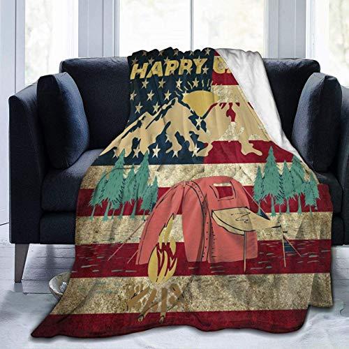 Blanket Happy Campers Us American Flag Vintage Throw Blanket Ultra Soft Velvet Blanket Lightweight Bed Blanket Quilt Durable Home Decor Fleece Blanket Sofa Blanket Luxurious Carpet for Men Women Kids