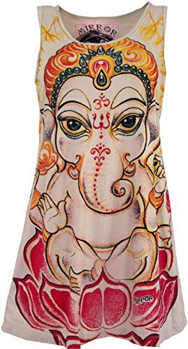 Guru-Shop Mirror Top, Longshirt, Minikleid, Damen, Baby Ganesh/Beige, Baumwolle, Size:L (40), Bedrucktes Shirt Alternative Bekleidung
