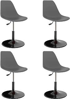 vidaXL 4X Sillas de Comedor Asiento Mobiliario Muebles Cocina Salón Sala de Estar Escritorio Suave Respaldo Decoración Giratorias PP Gris Claro