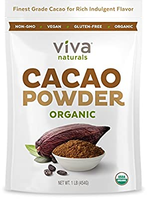 Viva Naturals #1 Best Selling Certified Organic Cacao Powder from Superior Criollo Beans,