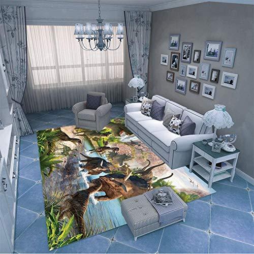 HJKGSX Tapis Design Moderne Dinosaure Animal Poils Ras Tapis de Salon Antidérapant Salon La Chambre des Enfants Facile d