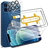 EGV Compatible avec iPhone 12 Verre Trempé,3 Pack Film Protection Écran et 3 Pack Caméra Arrière Protecteur