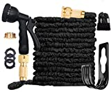 Ansyu Extendable Garden Hose up to 30.5m with 8 Function Spray Gun, Extendable Magic Hose, Leak Proof, Brass Fittings, Hose Holder, Storage Bag (Black)