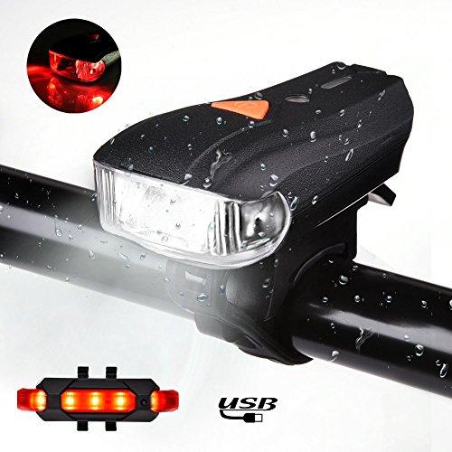 ACUMSTE LED Luces Bicicleta USB Recargable, 400 Lumens Super Brillante IP68 Impermeable Conjuntos de Faros Delanteros y Traseros con 5 Modos de Luz Ciclismo, Rojo y Blanco