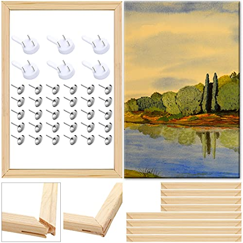 3 Sets/ 12 Pieces Art Stretcher Bars Wood Canvas Painting Stretcher Bars DIY Wood Frame Stretcher Bars with 30 Flat-Head Thumbtacks and 6 Invisible Nail Screws for Oil Paintings Posters, 12 x 16 Inch