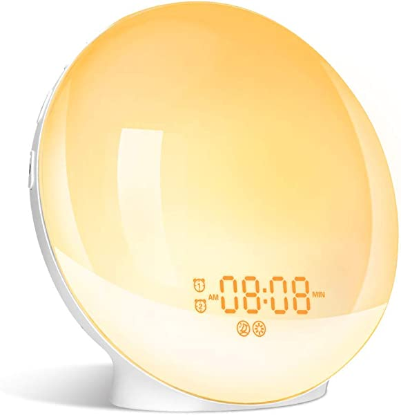 Wake Up Light LBell Alarm Clock 8 Colored Sunrise Simulation Sleep Aid Feature Dual Alarm Clock With FM Radio 7 Natural Sound And Snooze For Kids Adults Bedrooms LB01 Sunrise Alarm Clock