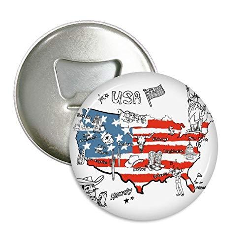 DIYthinker America Kaart Vrijheid Woord Illustratie Ronde Flesopener Koelkast Magneet Pins Badge Button Gift 3 stks