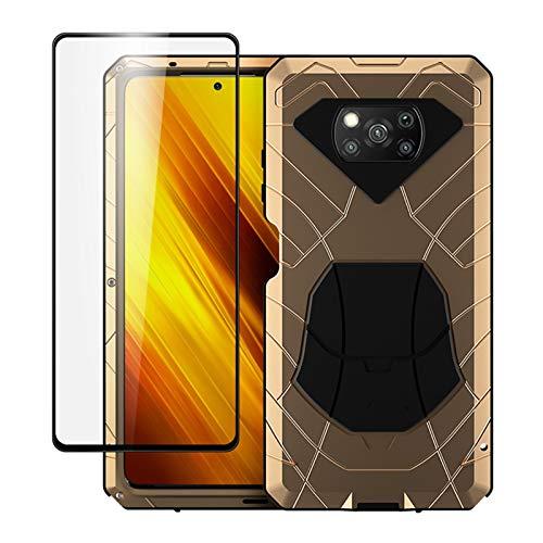 SIJI Fit for Xiaomi Poco X3 NFC con Vetro Temperato Poco M3 Protezione per Impieghi Gravosi Armor Antiurto Antitumi Duro Telefono in Metallo Custodia per Telefono in Gomma Integrata e Antiurti Bumper