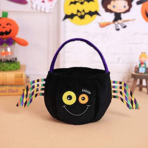 DuangDuang Halloween Dekoration Kinder Geschenk Süßigkeiten Tasche Kreative Dreidimensionale Kürbis Kindergarten Urlaub Tote Bag, Schwarze Spider Tragetasche, 25*15cm