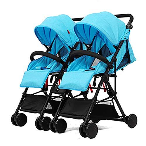 Opvouwbare dubbele lichtgewicht kinderwagen met 5-punts harnas – reizende kinderwagen, zij-aan-zij-kinderwagen, kinderstoel kan worden opgesplitst in twee afzonderlijke kinderwagens