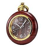 Tree weto Madera Reloj de bolsillo retro bolsillos Relojes Hombre Cuarzo Reloj Números Arábigos con cadena y caja de regalo