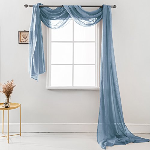 """MEMIAS Luxury Window Sheer Elegant Voile Curtain Scarf for Home, Birthday Party, Wedding Decoration, 1 Panel 54"""" W x 216"""" L, Quite Blue"""
