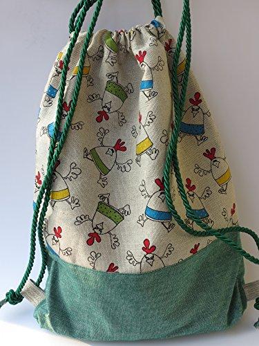 Turnbeutel / Reisesack / Soft-Rucksack aus Canvas mit mehrfarbigem Designer-Muster (''Töbende Hähnchen''); Innentasche mit Reißverschluss