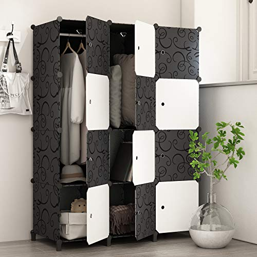 JOISCOPE Portable Wardrobe for Hanging Clothes, Combination Armoire, Modular...
